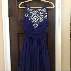 EUC Navy Blue Jewel Illusion Formal Dress Size 0